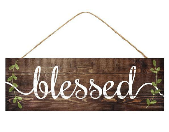 Blessed w/Leaf Vines Sign 15x5 AP8005