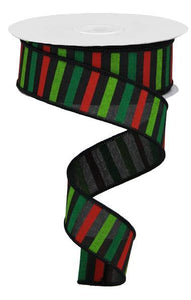 "1.5""X10Yd Horizontal Stripe On Royal Black/Red/Emerald/Lime RGA120402"