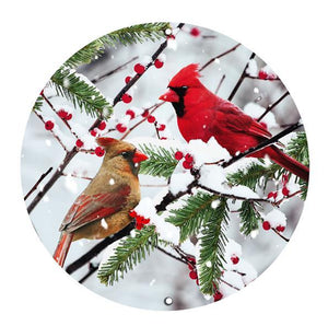 "12""Dia Metal Cardinals On Snowy Branch White/Red/Brown/Green AP0343"
