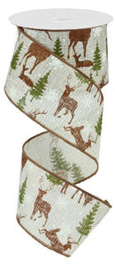 "2.5""X10Yd Deer W/Trees/Royal Ivory/Brown/Green RG1711TK"