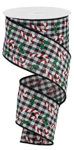 "2.5""X10Yd Candy Canes/Holly On Gingham Black/White/Red/Emerald RGB1146L6"