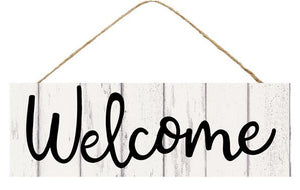 "15""L X 5""H Welcome Sign Grey Wash AP800810"
