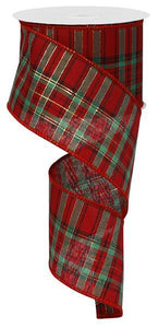 "2.5""X10Yd Christmas Plaid W/Metallic Red/Green/Black/Gold RG01064"