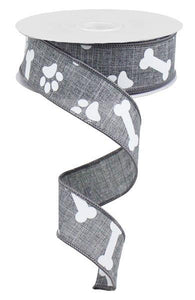 "1.5""X10YD PAW PRINT/BONES ON ROYAL GREY RGA115010"