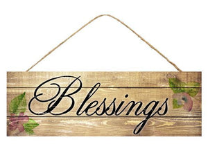 "Blessings Floral Sign 15""L X 5""H AP8006"