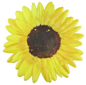 "12""Dia Metal Embossed Sunflower Yellow/Brown MD0612"