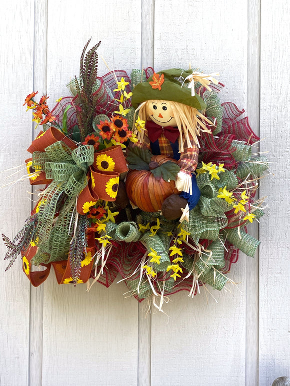 Pumpkin Harvest Scarecrow Wreath