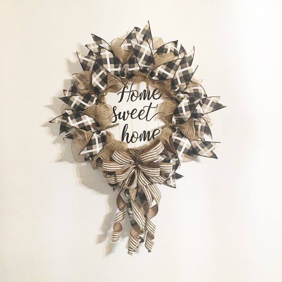 Home Sweet Home Wreath, Primitive Front Door Wreath, Rustic Home Wreath