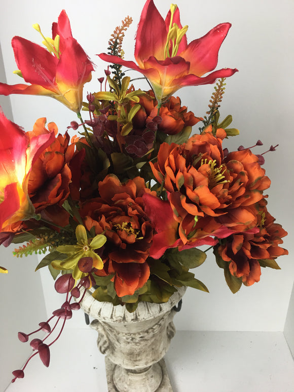 "Burnt Orange and Lily Bush 23""H 18 stems"