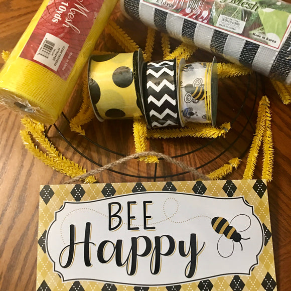 Bee Happy Bumblebee Wreath Kit 7 pc
