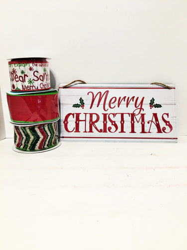 Merry Christmas sign w/ribbon