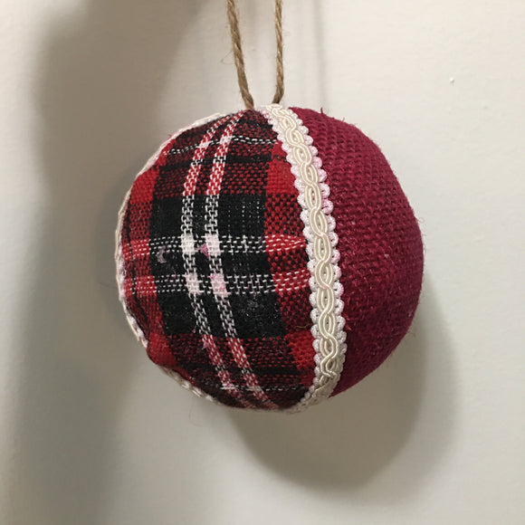 Red & Black Styro Ball Ornament 4""