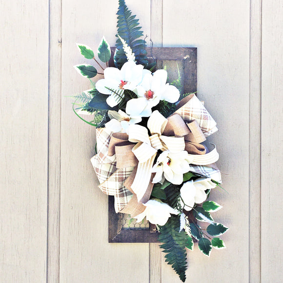 Magnolia Wall Hanger, Farmhouse Inspired Door decor, Rustic Home Wreath