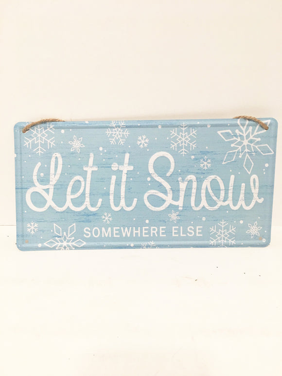Let It Snow Blue Tin sign 12