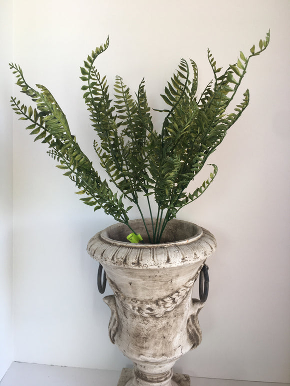 "Plastic Fern Bush x7stem 19""H 13402GN"