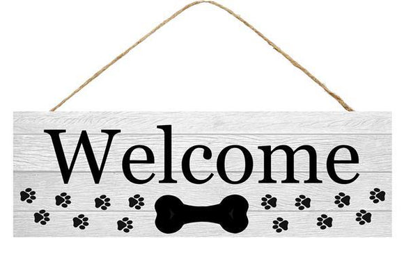 WELCOME W/DOG BONE/PAWS SIGN 15x5 AP801910