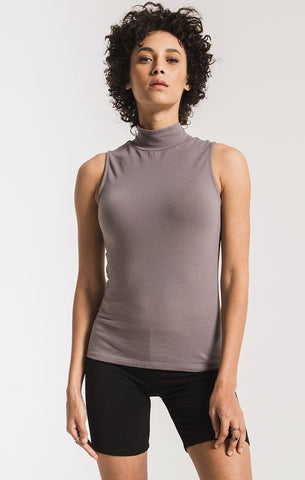 The Mock Neck Tank-Steel Grey