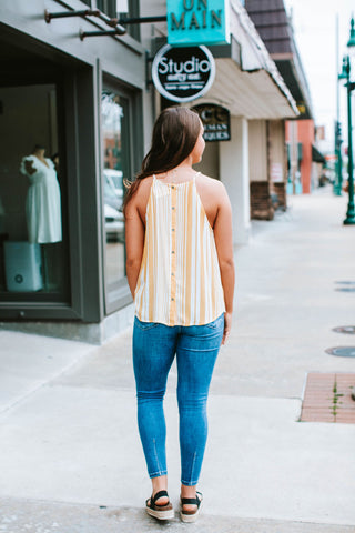 Yellow/White High Gather Neck Button Down Back Top