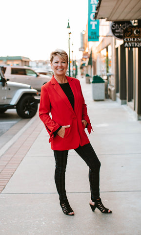 Red Lined Tie Sleeve Blazer