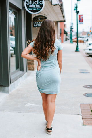 Steel Blue Gathered Mini Dress
