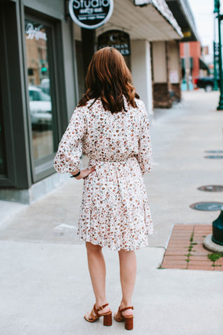 Ivory Floral Printed Smocked Ruffle Dress