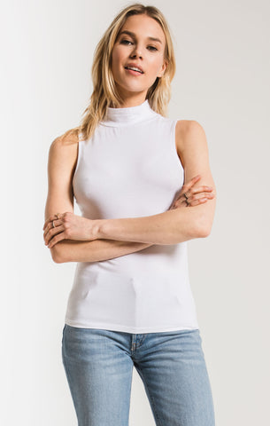 The Mock Neck Tank White