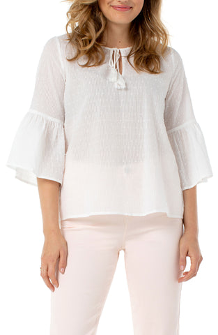 Liverpool White Swiss Dot Bell Sleeve Top