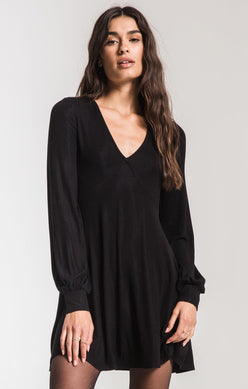 The Micro RIb L/S Dress-Black