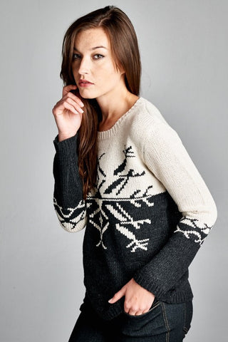 Snowflake Colorblock Sweater