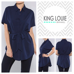 Navy Belted Tunic Top
