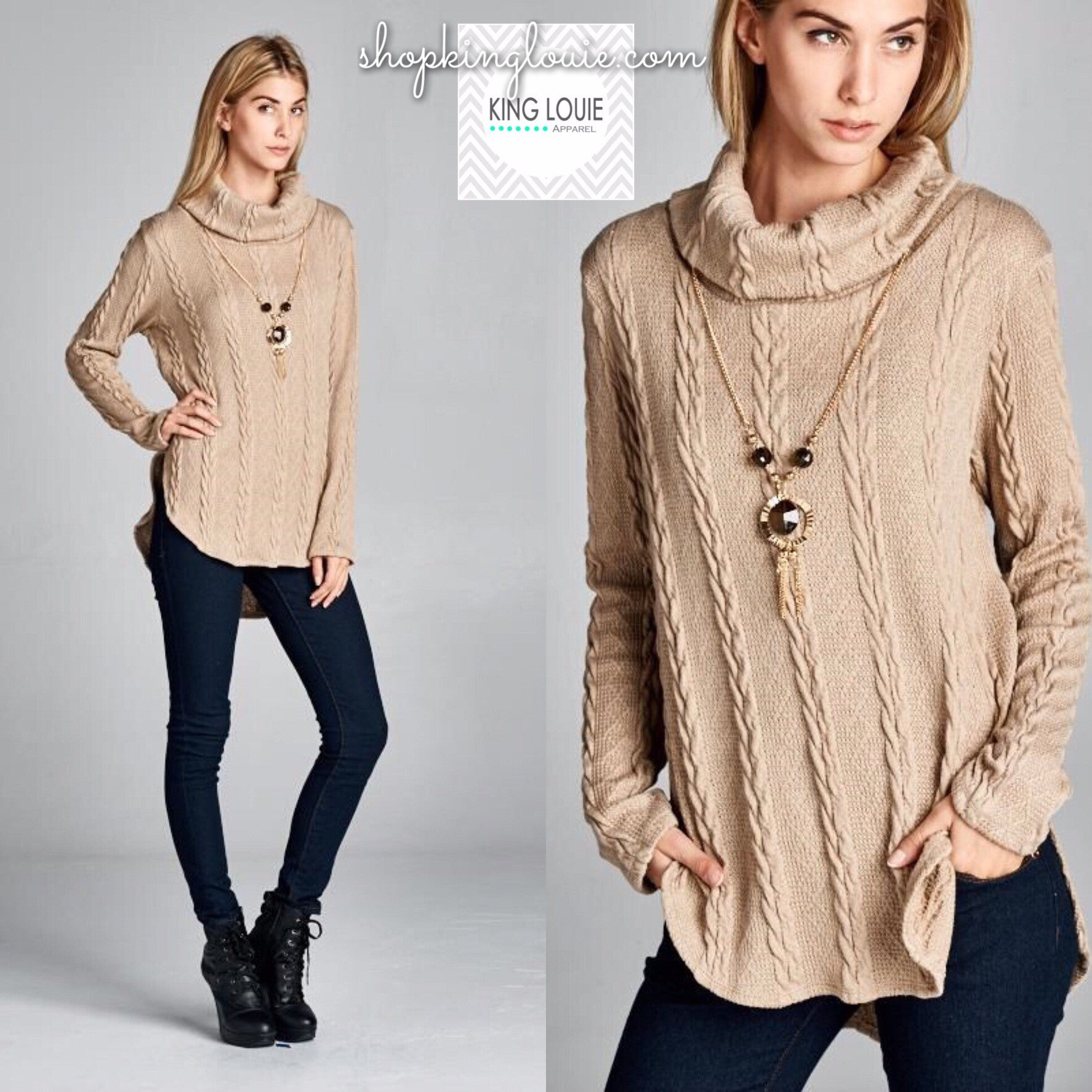 Braided Knit Tunic Sweater