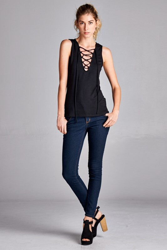 Lace-up Solid Tank