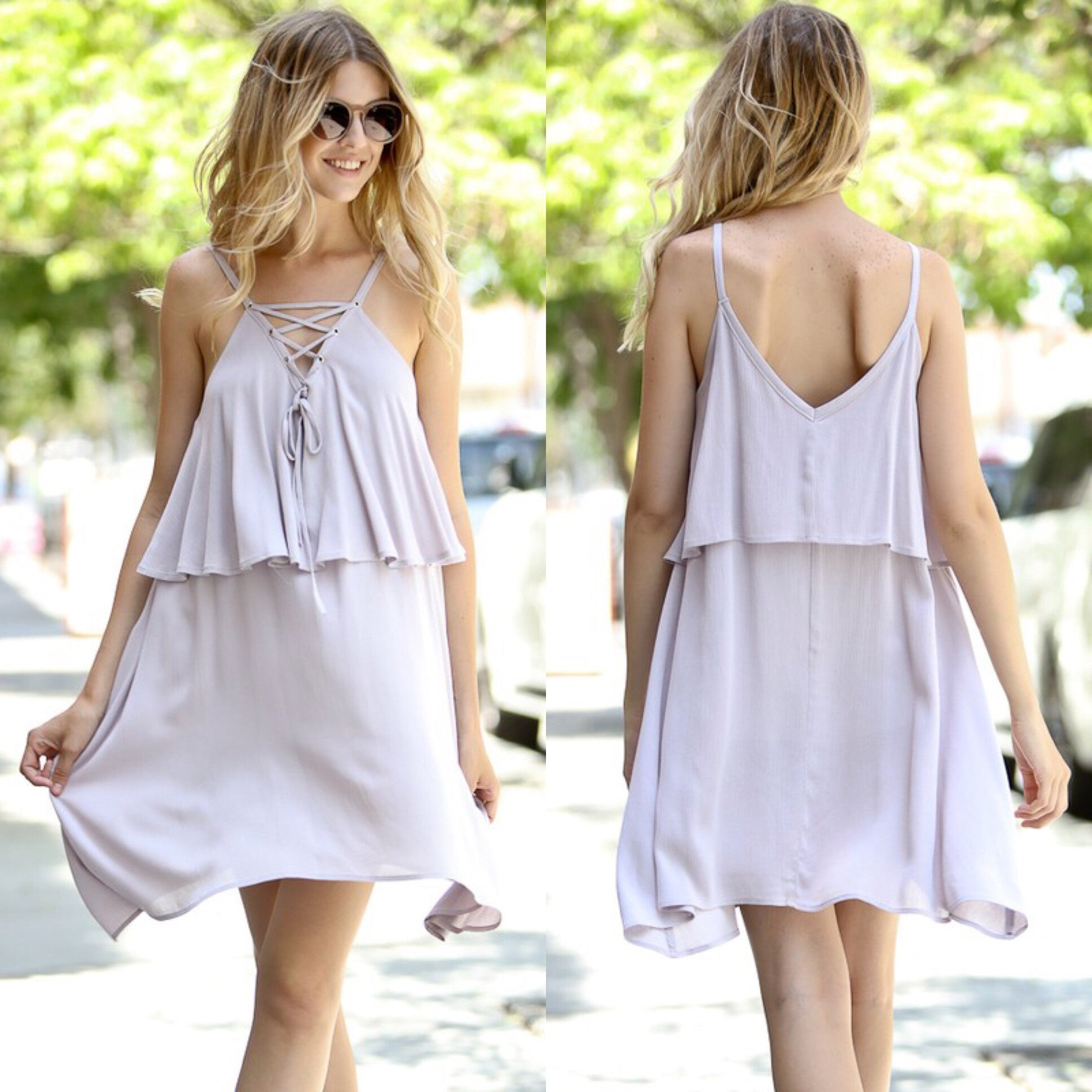 Lace Up Halter Dress