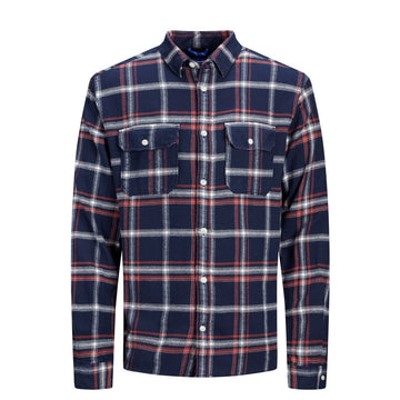 jack and jones jasper plaid long sleeve shirt navy