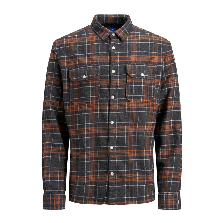 jack and jones jasper plaid long sleeve shirt asphalt