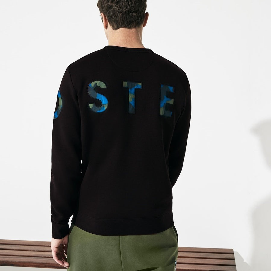 lacoste black crew neck sweatshirt