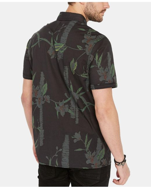 buffalo short sleeve button up shirt floral
