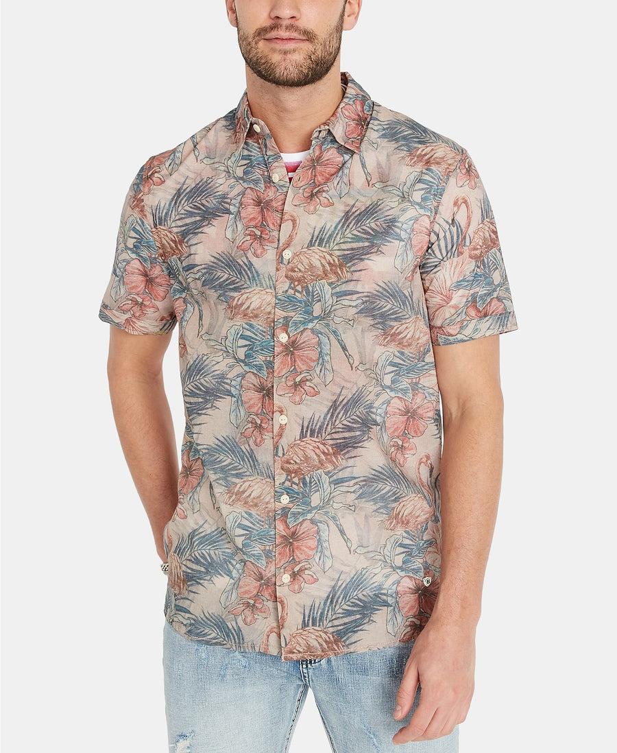 buffalo floral short sleeve button up