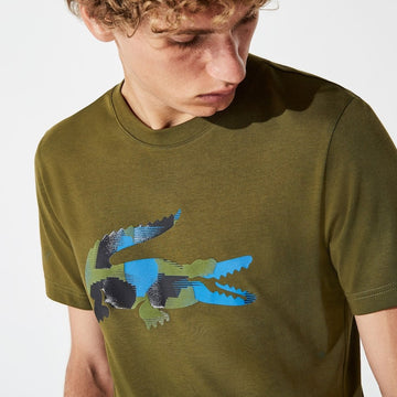 lacoste olive green camo tshirt