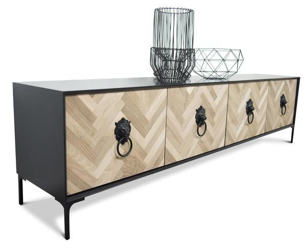 Amalfi 4 Door Credenza in Matte Black Lacquer