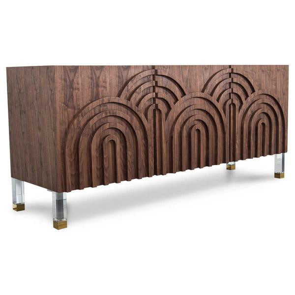 Arches Three Door Credenza in Oiled Walnut Veneer