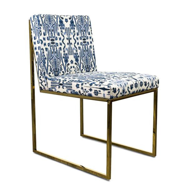 Goldfinger Dining Chair in Navy and White Ikat