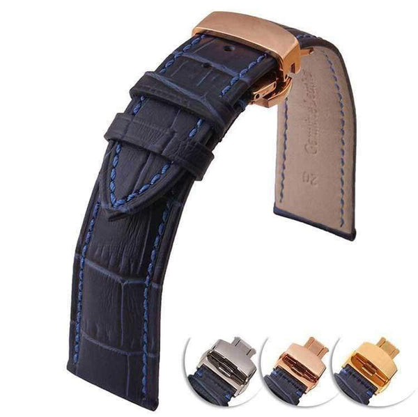12mm 14mm 16mm 18mm 20mm 22mm Blue Leather Watch Strap With Deployant Clasp [3 Variations]