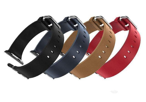Red / Blue / Brown / Black Leather Watch Bands For Apple Watch[4 Variations]