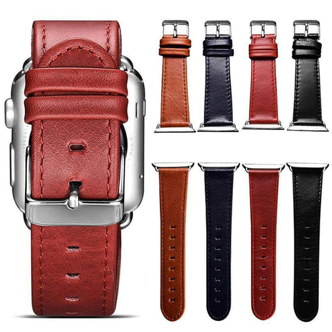Red / Blue / Brown / Black Leather Watch Bands For Apple Watch [4 Variations]