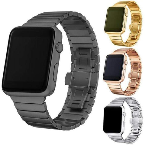 Silver / Gold / Rose Gold / Black Stainless Steel Watch Band For Apple Watch [4 Variations]