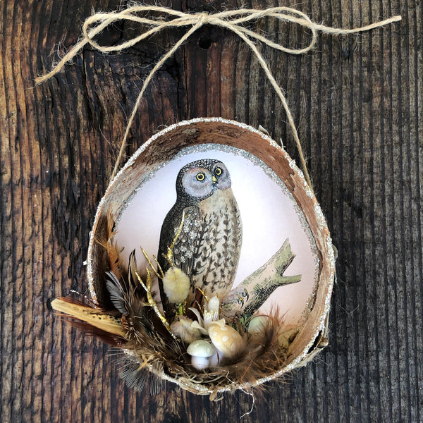 Owl Birch Ornament