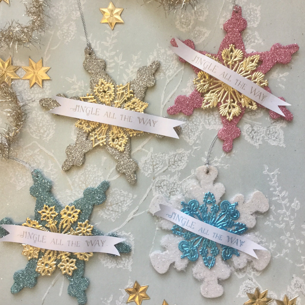 Festive Glittered Snowflake Ornament