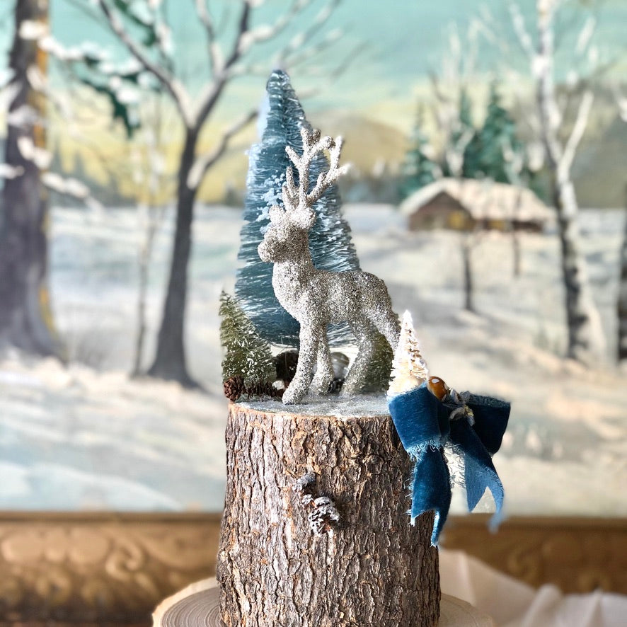 Blue Winter Woodland Scene