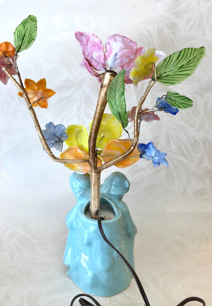 Mid-Century Glass Flowers TV Lamp